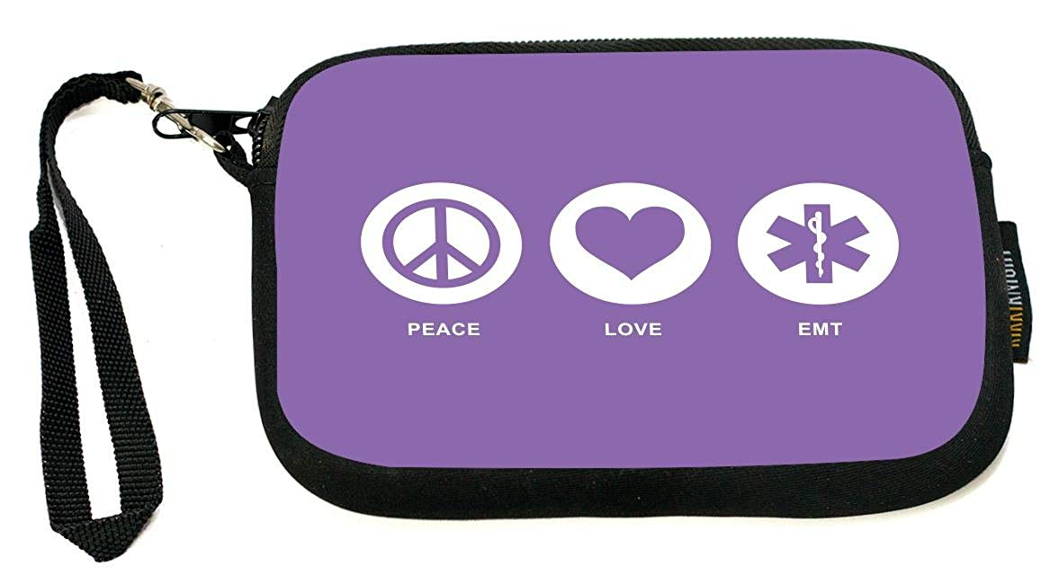 Rikki Knight Peace Love EMT Red Color - Neoprene Clutch Wristlet with Safety Closure - Ideal case for Camera, Cell Phone, Gameboy, Passport, Cosmetics case, Universal Cell Phone Case etc..