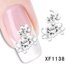 Projeto da flor senhora mulheres de Unhas De Transferência De Água Art Sticker decalques manicure ferramentas Unhas Wraps Decalques atacado XF1138