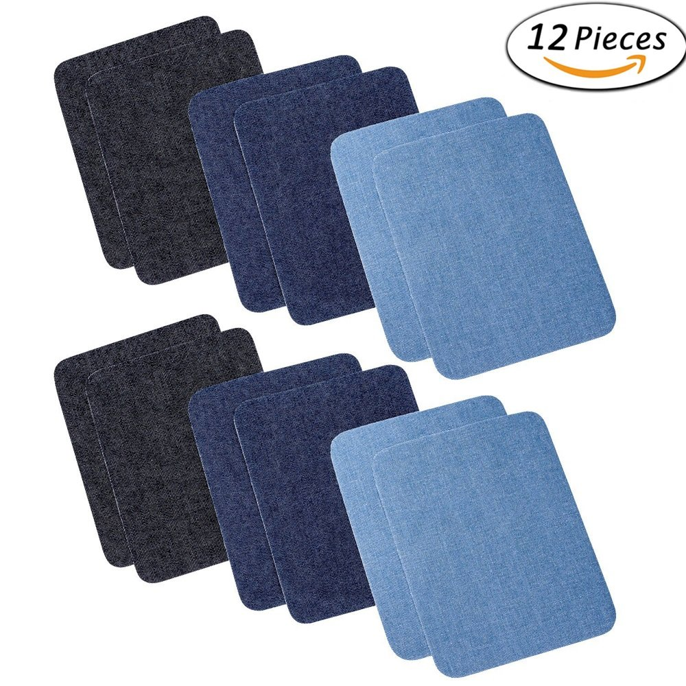 "12 Pieces 12 PCS 3 Colors Jeans Patch Iron On Patches Repair Elbow Knee Denim Patches Applique For Clothes Stickers Clothing Accessories(4.9"" X 3.7"")"