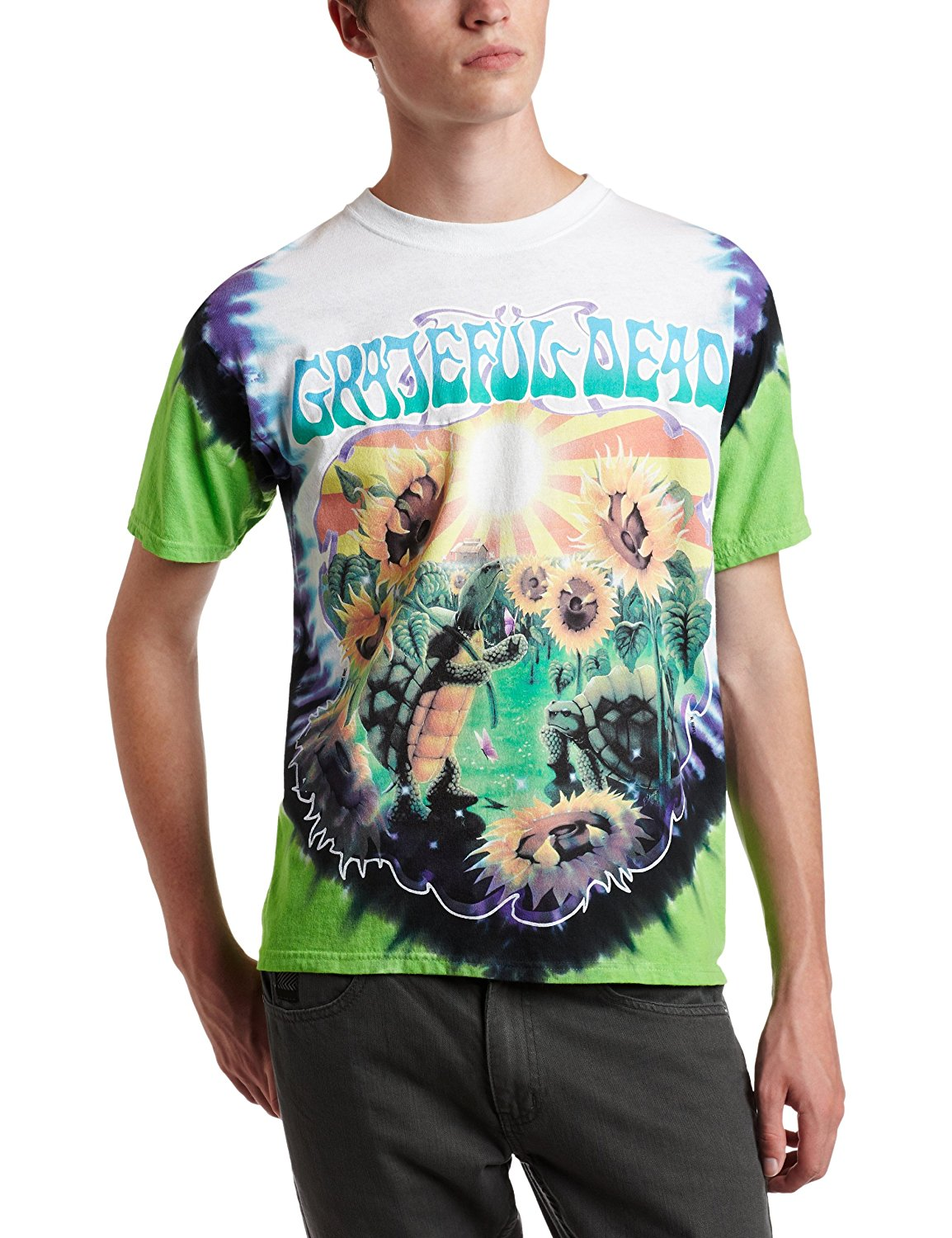 Liquid Blue Men's Grateful Dead Sunflower Terrapin Tie Dye T-Shirt