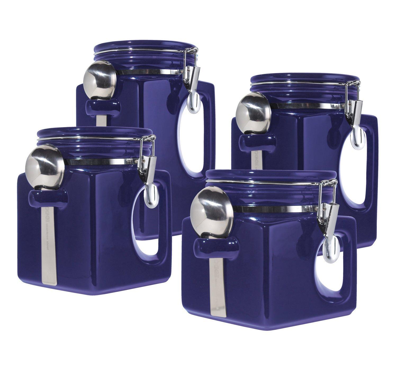 Oggi White Canister Set Part - 18: Oggi EZ Grip Handle 4-Piece Ceramic Airtight Canister Set, Blue
