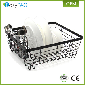 Kitchen accessories corner metal wire square draining dish plate rack