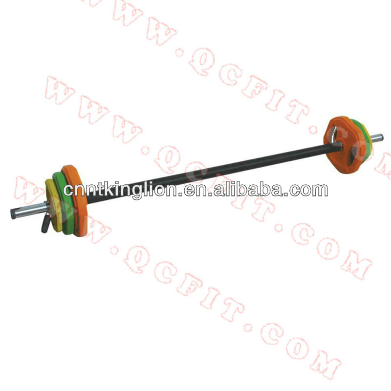 Adjustable color rubber coated barbell sets with spring collars