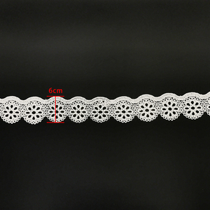 Garment border embroidery fabric white eyelet organza elastic lace trim