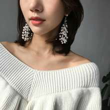 Tassel Pearl Silver Stud Drop Earrings Big Long Tassel Pearl Earrings for Girls Women