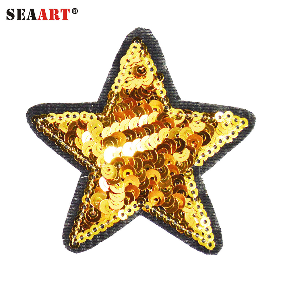 Sequin Gold Star Embroidery Patterns Designs Iron On For Shirt