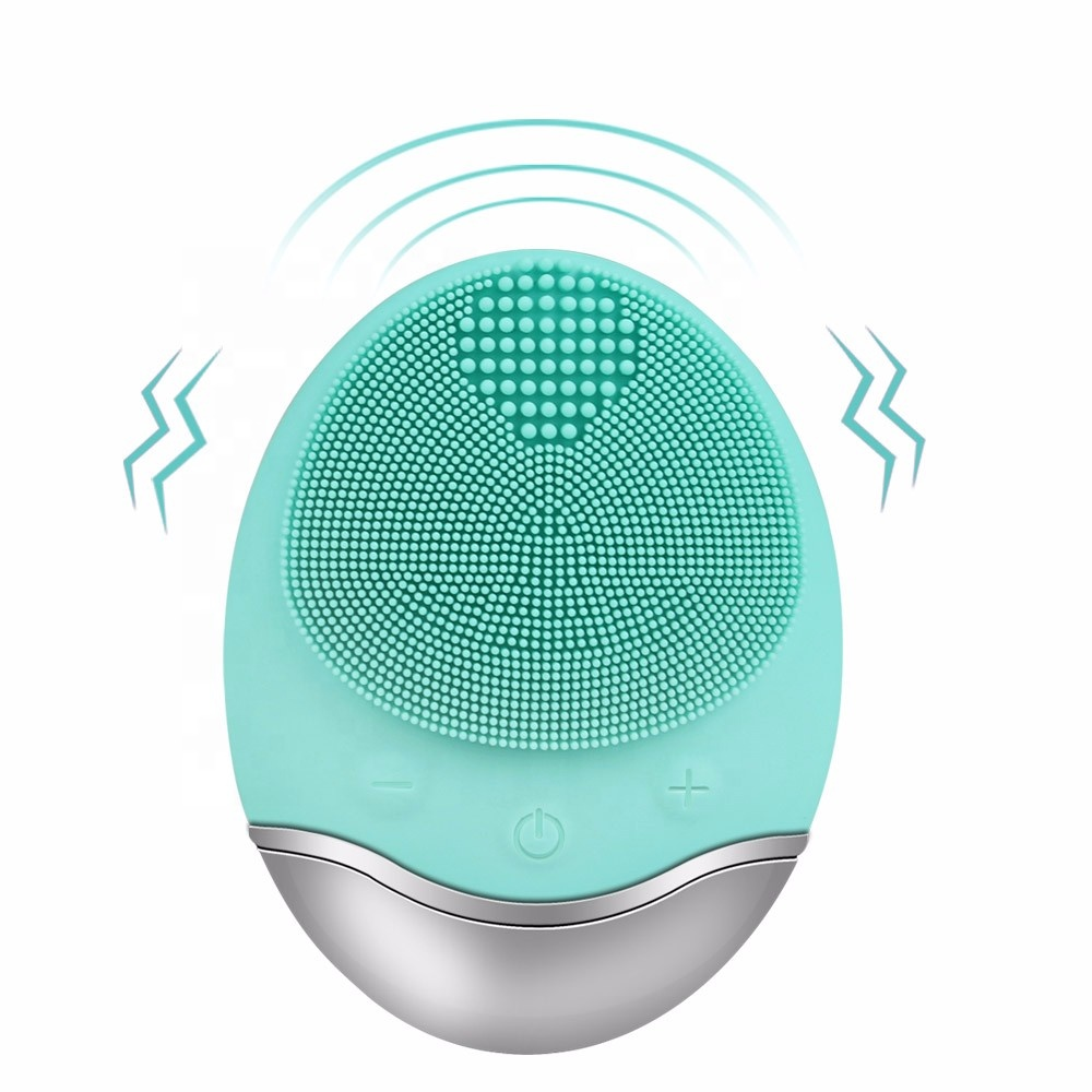 Waterproof skin care electric sonic facial cleansing face brush, Pink;green