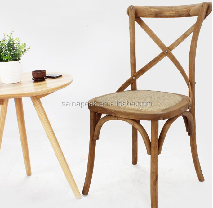 factory hot sale solid wood Antique classic X cross back chair with pillow or cushion /crossback chair with rattan seat