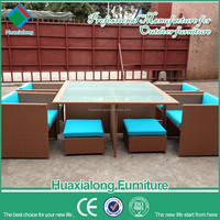 Outdoor furniture PE flat rattan dinning set space saving furniture hideaway dining table and chair set FWA-607-1