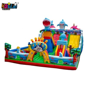 2019 Hot Amusement Park Ocean Shark Jumping Animal Castle Inflatable Bouncer Combo Toy