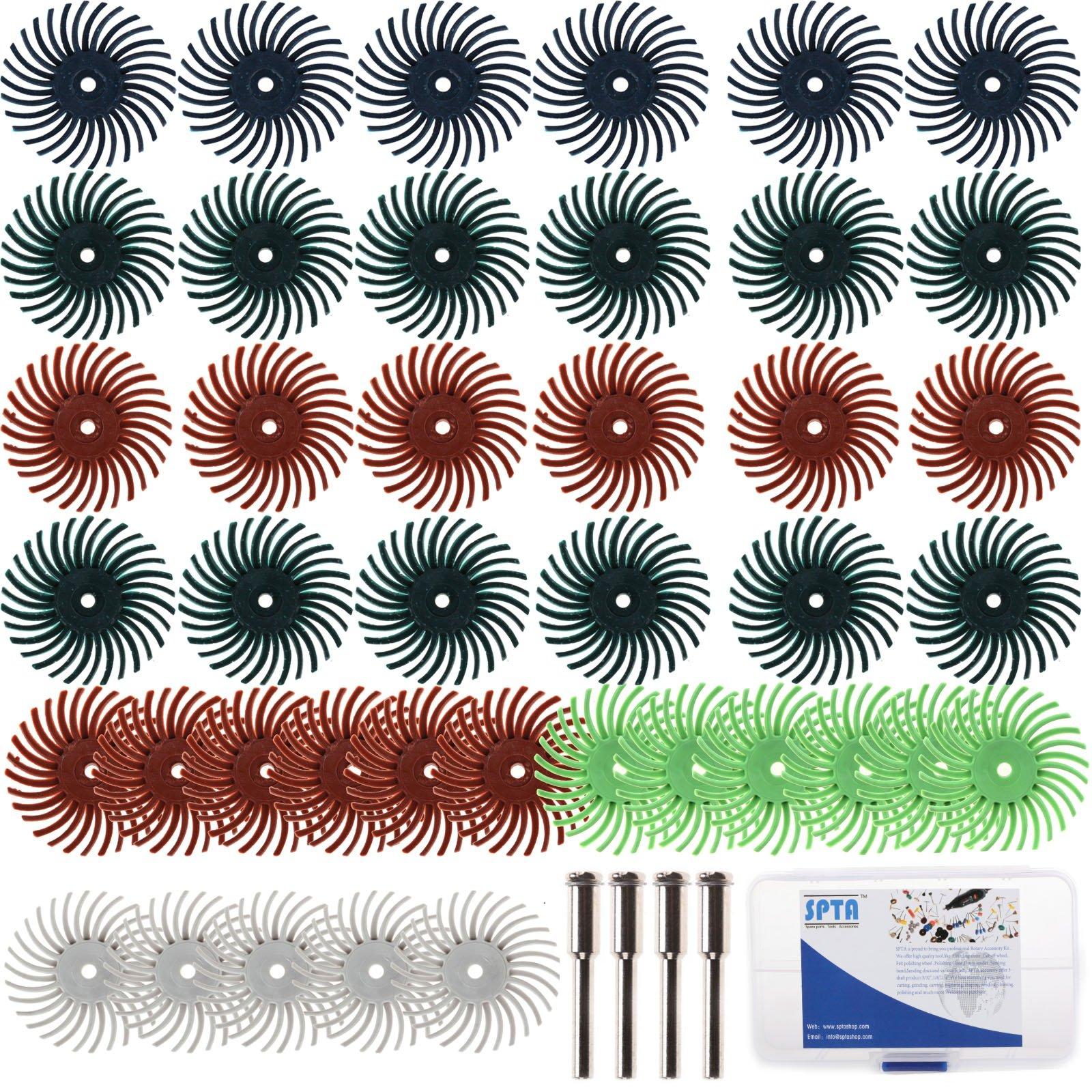 "SPTA 1""(25mm) Dia Mix Grit Radial Bristle Disc & 10 Mandrels (EACH : 3/32"" & 1/8"" SHANK) Kit For Dremel Rotary Tools Pack Of 52Pcs"