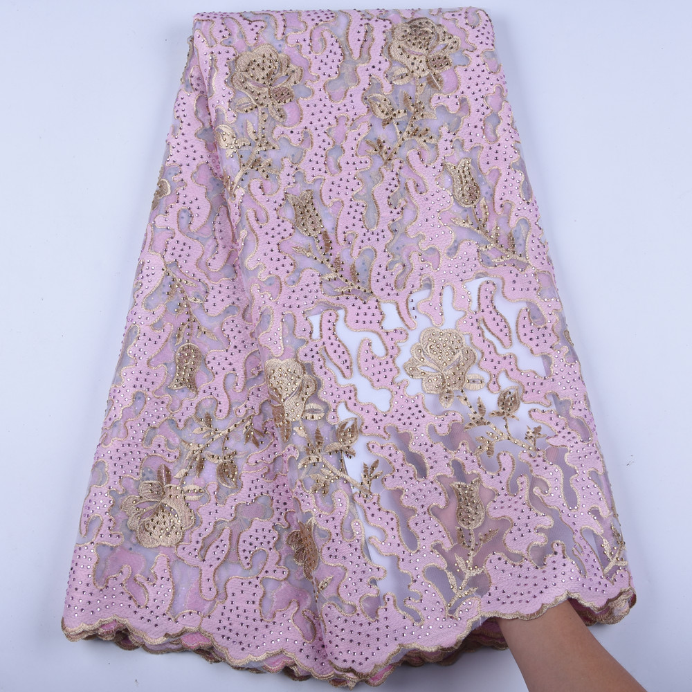 Gold Beaded Sequined Lace Fabric For Nigerian Women Party Dresses High Quality African Lace Fabric With Rhinestones  1601