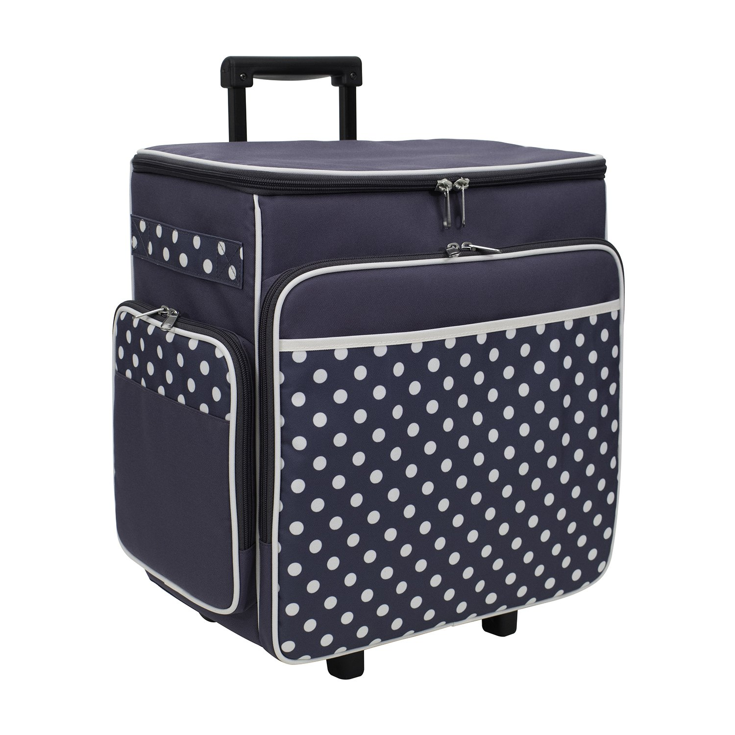 f6f396b84ef6 Get Quotations · Everything Mary Grey Polka Dot Rolling Scrapbook Storage  Tote - Scrapbooking Storage Case for Rings