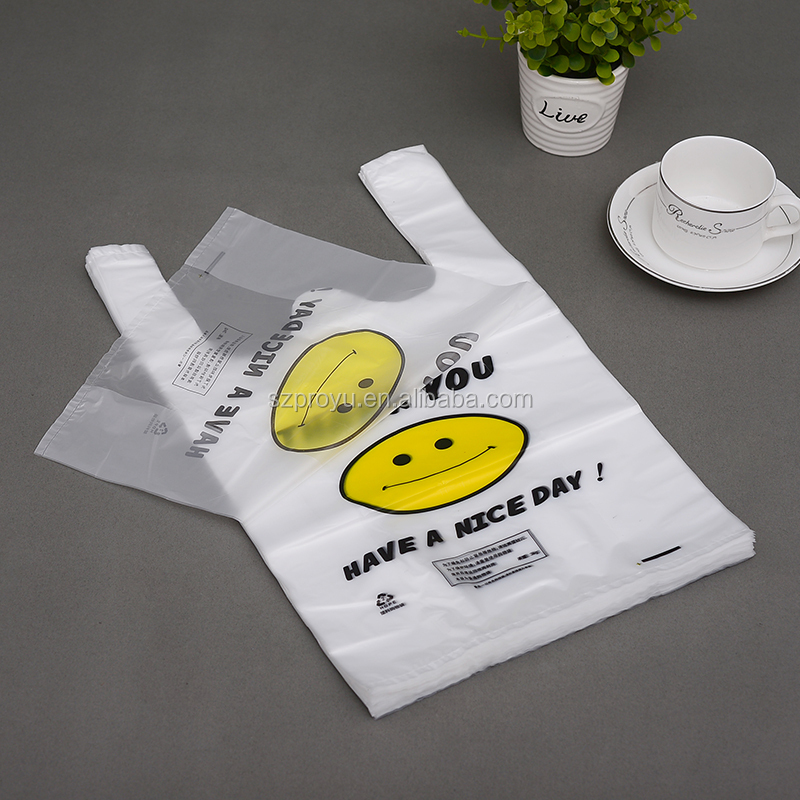 Cheap supermarket plastic t-shirt shopping bag snack food Plastic Carry packaging Bags