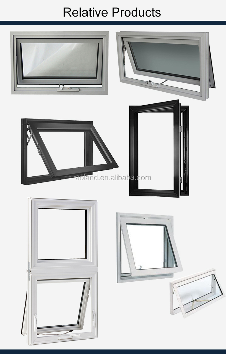 Chain winder aluminium awning  windows with toughened glass