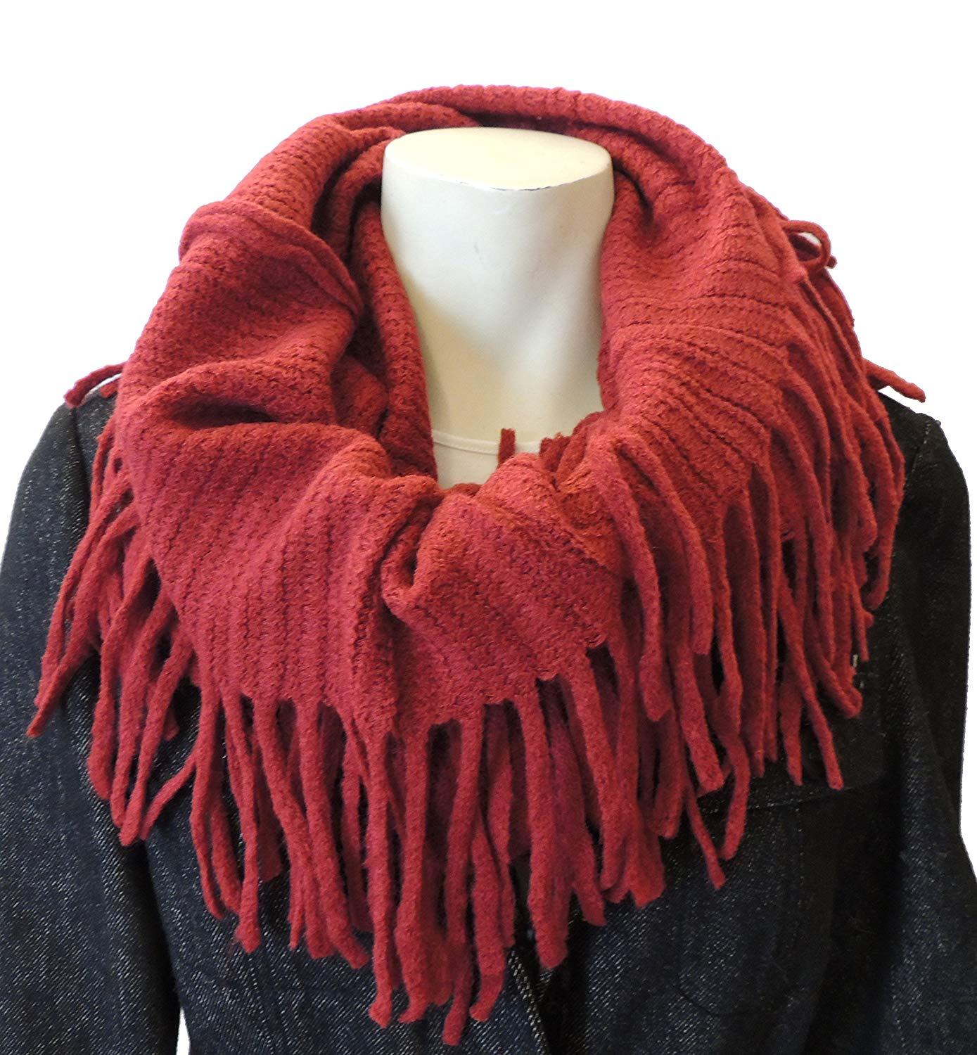 Women's Infinity Scarf, Fringed, Warm, Soft, Ribbed, Fashion Winter Accessory