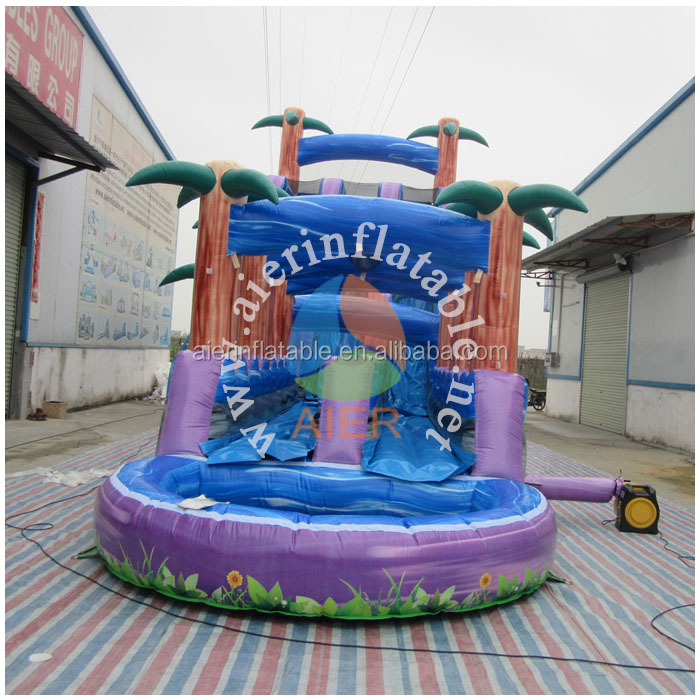2017 Aier Funny tree theme colorful inflatable slide inflatable water slide parts/tropical heaven water slide