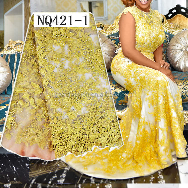 Queency Nigerian Wedding Party Dresses 3D Flower Decoration Soft Mesh Lace African Tulle Net Lace Fabric