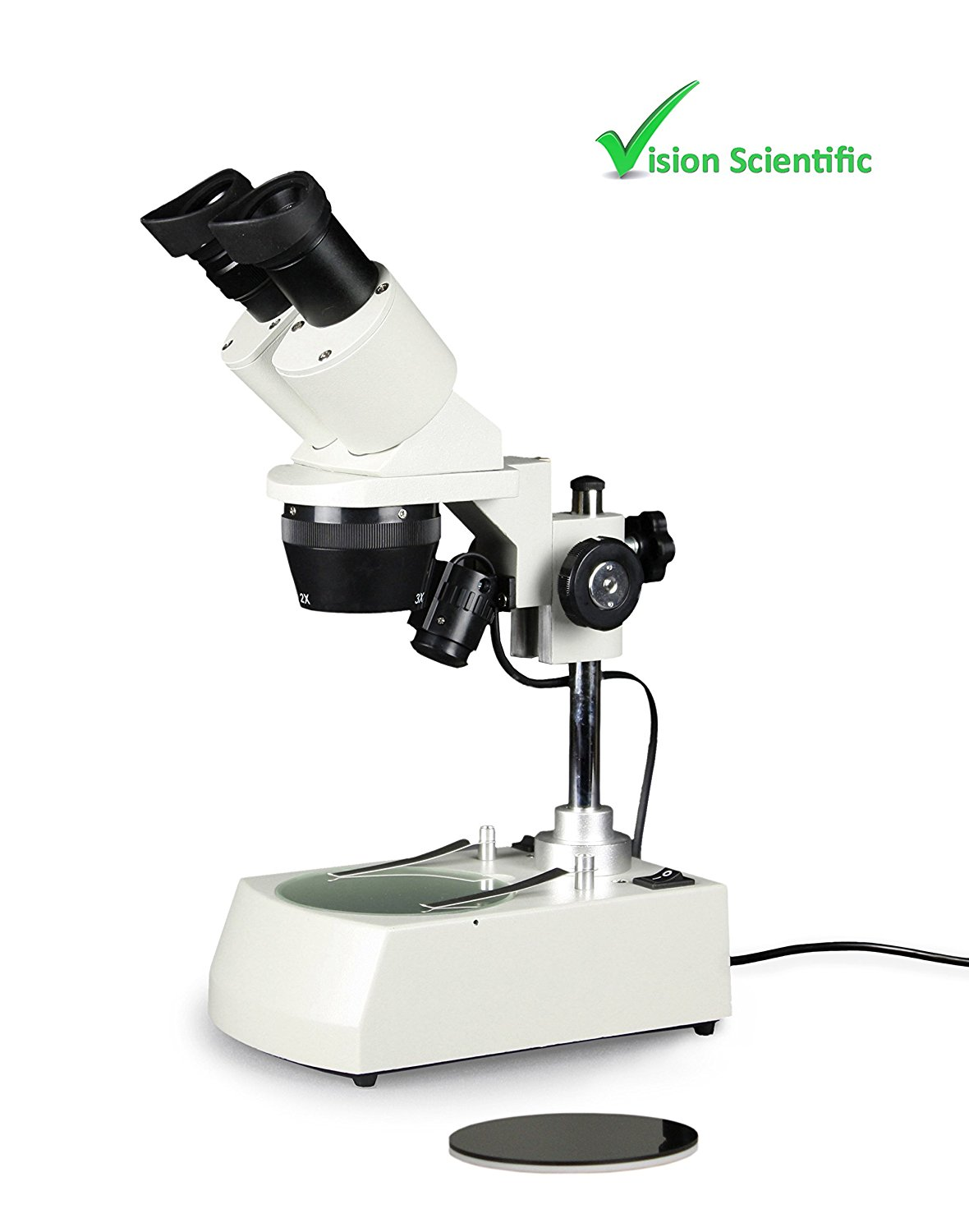 Vision Scientific VMS0002-LD-234 Tri-Power Binocular Stereo Microscope, 2X, 3X ,4X Objective, Paired 10X WF Eyepiece, 20X, 30X, 40X Magnification, Top and Bottom LED Illumination, Post-Mounted Stand