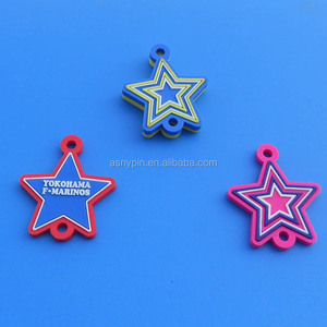 soft pvc five star pendant for keychain or zipper pull