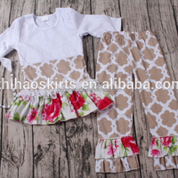 high quality 2pcs grey quatrefoil long sleeve knit cotton baby clothes baby frock designs