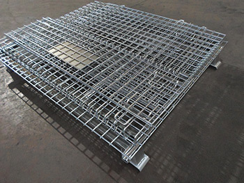 Foldable Galvanized Metal Box Wire Mesh Storage Cage Containers