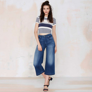 EY0268A Women New Style tall waist loose Capri jean pants