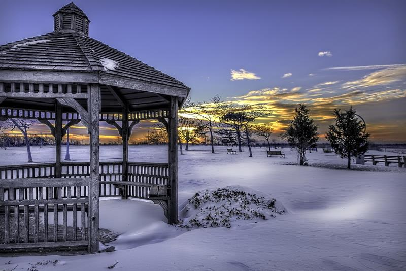 Canvas Prints Stretched Framed Fine Art Giclee Artwork For Wall Decor Snow Park Gazebo Winter Cold Frozen Landscape White