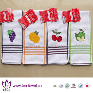 White cotton waffle weave with embroidery slogan kitchen tea towel