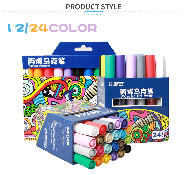 STA 24colors acrylic painter marker for glass ceramic painting chalk marker pen