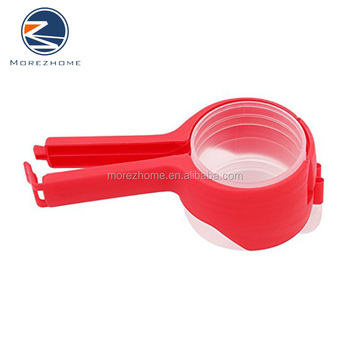 Morez 1pc high quality plastic food bag clip with measuring cup
