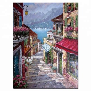 Handmade romantic house thomas kinkade oil painting