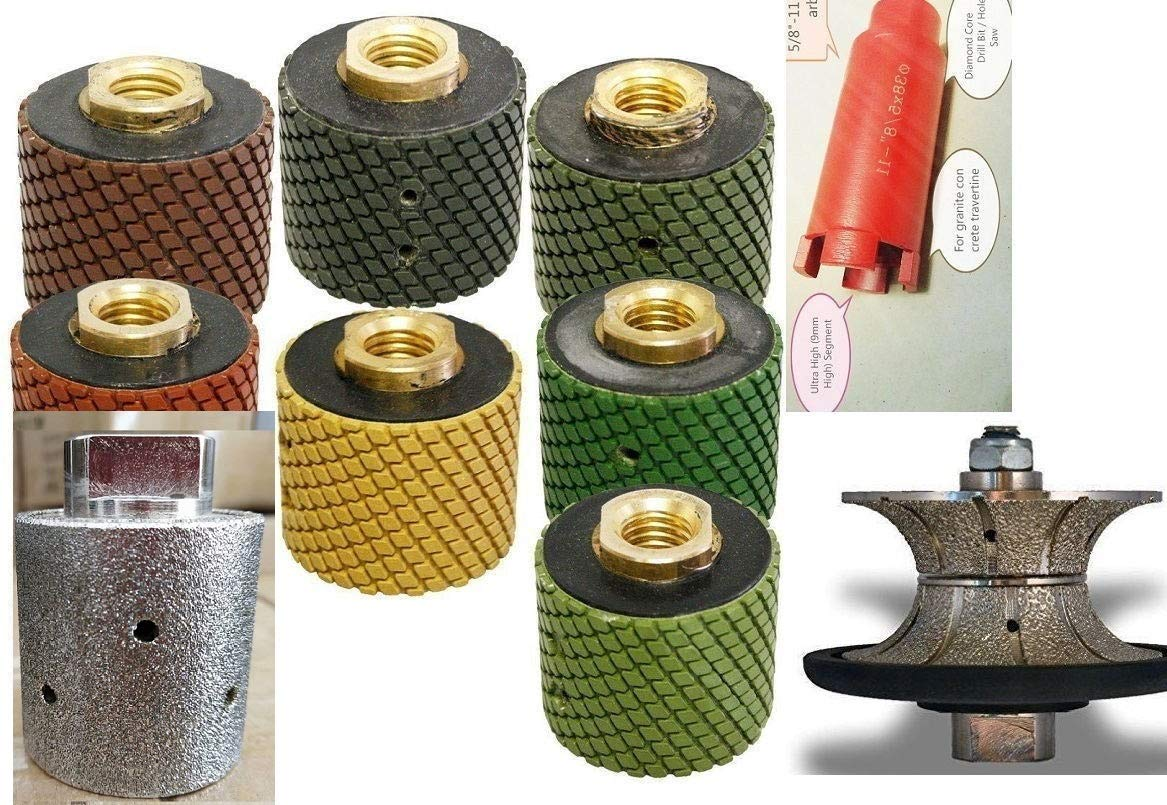 "1 3/8"" Wet Polishing Drum 7 + core bit + zero tolerance grinding drum wheel + 1 1/4"" (30 mm) V30 Full Bullnose shaping Diamond Router Bit Granite Stone Marble Edge wet polisher grinder countertop"