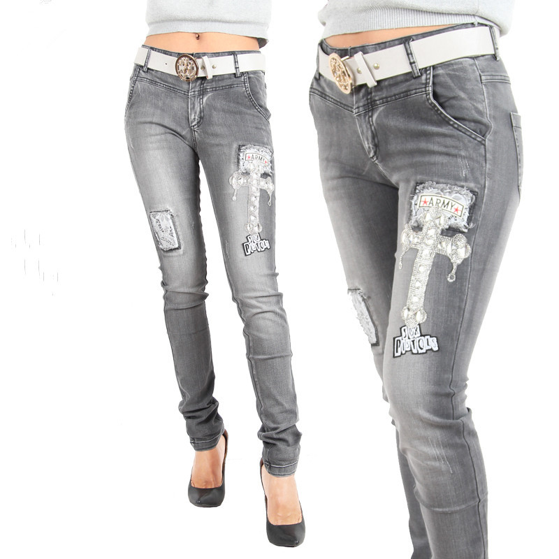 f3c9a6bcddd Get Quotations · 2015 New Arrival Appliques Sequined Hole Young Women Ripped  Slim Jeans Women Denim Skinny Jeans Fashion