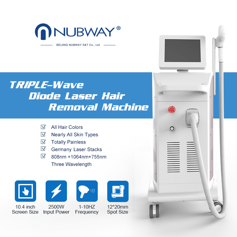 OEM & ODM new arrival 20-70J / cm2 salon use 808nm diode laser hair removal machine
