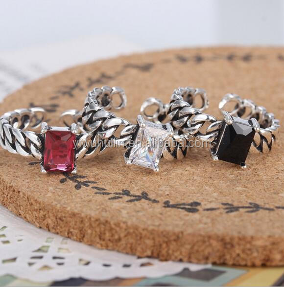 YFY1104 Yiwu Huilin Jewelry Fashion Vintage square Crystal Women's Ring Opening Adjustable Ring
