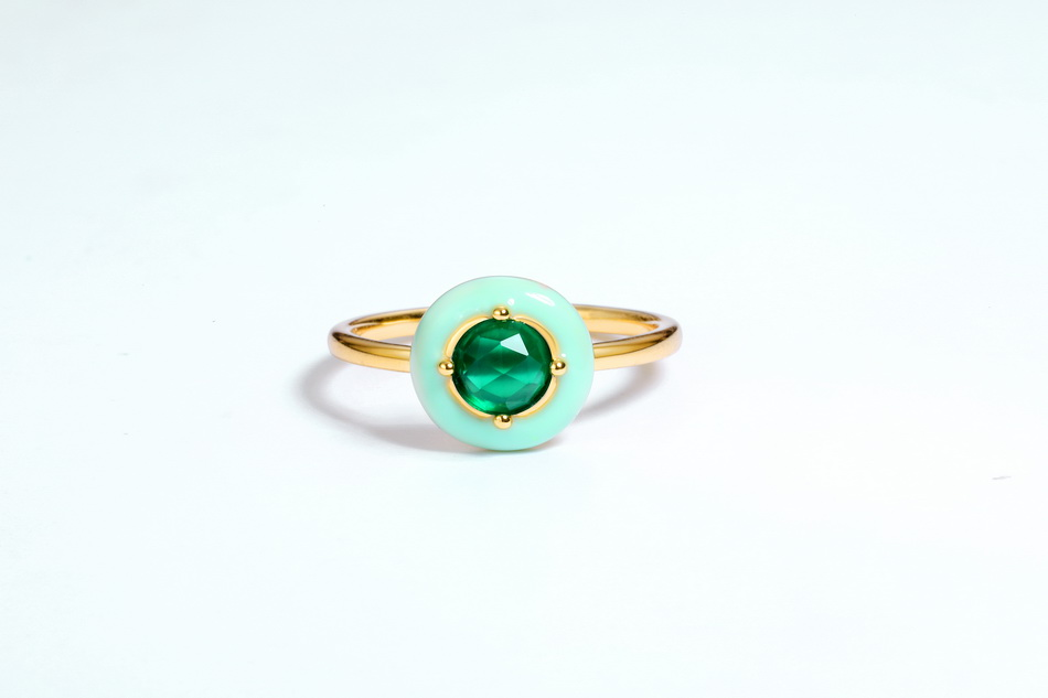 2019 Unique design 925 silver mint enamel jewelry gold bijoux green onyx ring