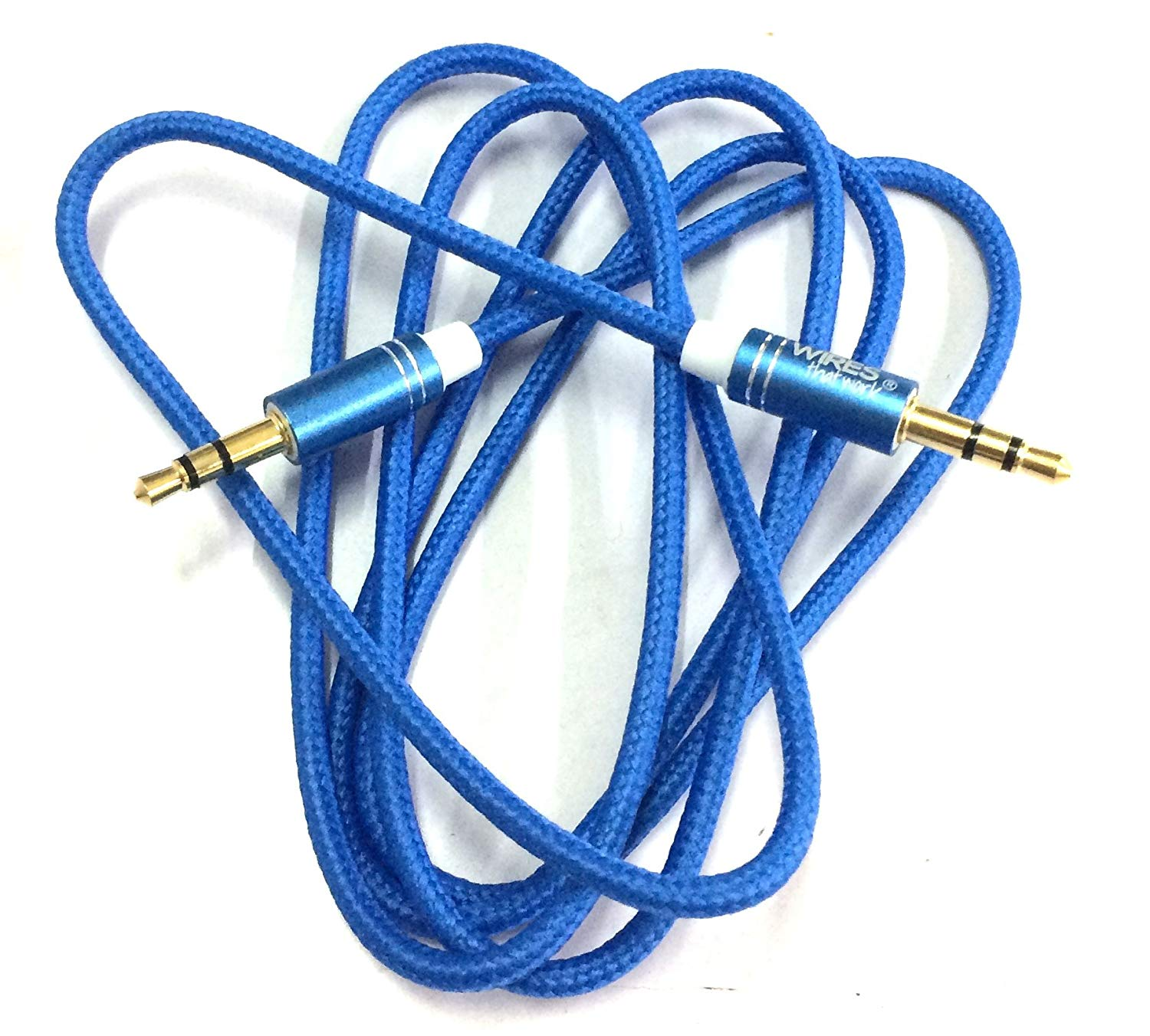 Detec Nylon Braided Aux Cable - Audio Cable - 1 Meter - Blue- Gold Plated Connectors