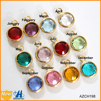 Yiwu factory wholesale custom gold color 12 pcs birthstone charms