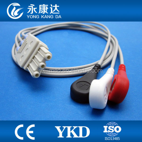 Compatible for HP with 3lead ECG Trunk cable with AHA ,Snap type