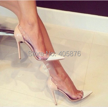 New Sexy Brand fashion See-through pointed toe shoes thin heels high-heeled Pumps shoes Height 11 cm