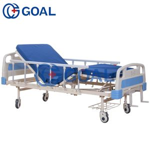 Top Grade Hospital Multi-functional Double Crank Adjustable Manual Medical Care Bed