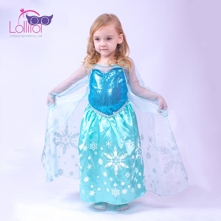 Детские карнавальные вечеринки Косплей Костюм Замороженные Эльза Снежная  королева нарядное платье принцессы костюмы для девочек f061aa1e8ddbb