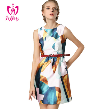 6a29fb8dd Última dama casual vestido de impresión geométrica vestido de otoño modelos  vestido ...