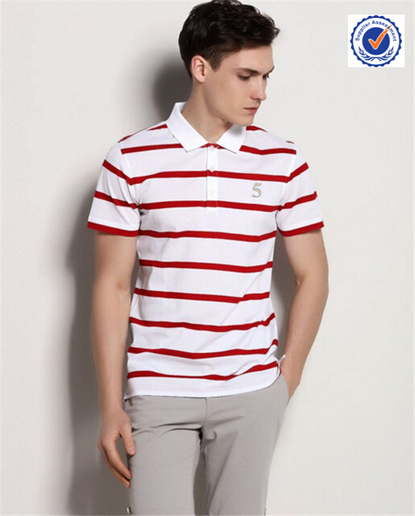 Custom fashion clothing designs mens striped polo t shirts