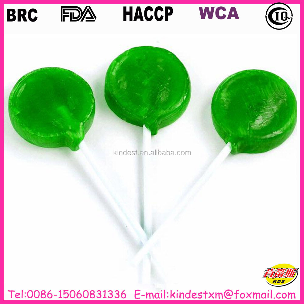 10g bulk pack green apple flavored lollipop, high quality and cheap lollipop