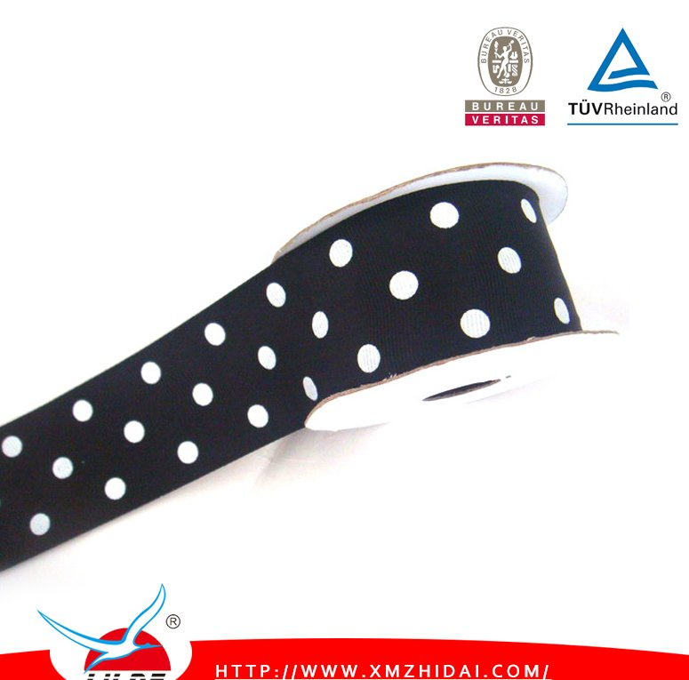 Hotsales gift packing use white dot black ribbon