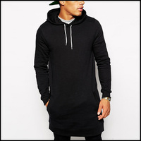 Black Color Long Tops Zip Up High Quality Plain Hoodies Sweatshirts