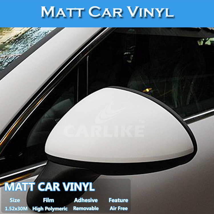 CARLIKE White Self Adhesive Decorative Matt Vinyl Sheet Car Wrapping