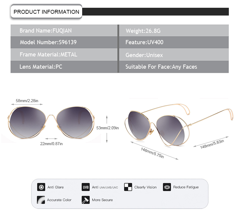 Hot sale new brand designer fancy frame gradient lens women sunglasses